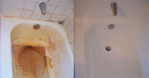 Rusty Porcelain Tub before and after refinishing