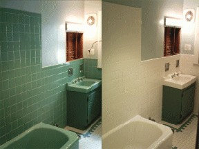 Wall Tile before and after refinishing